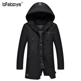 hats crosses UK - BFSBOYS Design 2017 New Long Winter Down Jacket With Hood Men's Clothing Casual Jackets Thickening Parkas Male Coat M-4XL