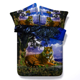 Tiger Bedding Sets Full UK - 3D moon tiger bedding sets queen christmas galaxy duvet cover single twin king cal king size stars bedspreads animal bedlinens pillow shams