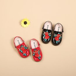 Baby Shoes Girl Genuine Leather Australia - 2018 New Pattern Boy Girl Two Clothes Slipper Lovely Princess Sandals Baby Fashion Embroidered Cool Shoes Genuine Leather Retro Embroidery