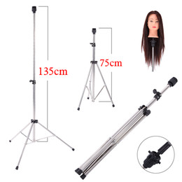 Discount practice hair head - Aluminum Adjustable Tripod Stand Practice Hair Training Mannequin Head Holder Clamp Showed Prop Pro Salon Styling Access