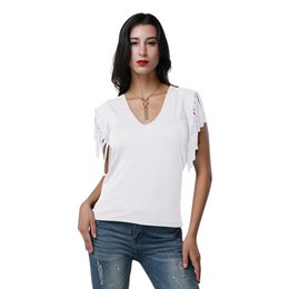 a330c41fee6 Sexy Women Low Cut V Neck T-Shirt Tassels Short Sleeve Solid Casual Slim  Cami Tee Shirt Female Top 2018 Summer Harajuku T-shirts