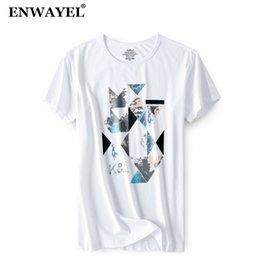 Modal Tees Australia - ENWAYEL 2018 Summer Fashion Geometry Print T Shirt Men Casual Modal O-Neck Short Sleeves Tshirt Male Tees Brand Clothing TX513