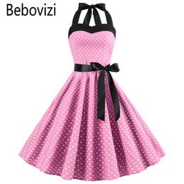 EmpirE pin online shopping - New Pink Midi Dress Retro Polka Dot Hepburn Vintage s s Halter Party Dress Pin Up Rockabilly Dresses Robe Plus Size