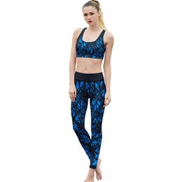 yoga pants prints UK - New Design High Quality Blue Striped 3D Digital Print Leggings Women High Waist Legging Girls Fitness Leggins Pants