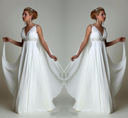 $enCountryForm.capitalKeyWord Australia - Simple Chiffon Empire Waist Beach Wedding Dresses Greek Modern V Neck Plus Size Bridal Gown Cheap Vestido Wedding Gowns