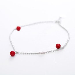 Discount girls cute anklet feet - Red Trees Brand Fine Accessories Fashion Cute Red Agate Foot Bracelets Girls 925 Sterling Silver Women's Anklet Jewelry