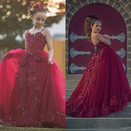 Kids Prom Dresses Straps Canada - 2018 Vintage Burgundy Lace Flower Girl Dresses For Weddings Spaghetti Strap Crystal Bow junior Girls Formal Dress Kids Prom Communion Gowns