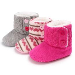 Crochet Baby Boots NZ - Newborn Toddler Kids Baby Girls Crochet Knit Woolen Snow Shoes Winter Soft Sole Crib Plush Sneakers Infant Winter Boots