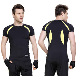 wearing compression shorts NZ - Men Quick Dry Sport Running Wear Bodybuilding Clothing Fitness Compression Tights Clothes Short Sleeve Gym T Shirt