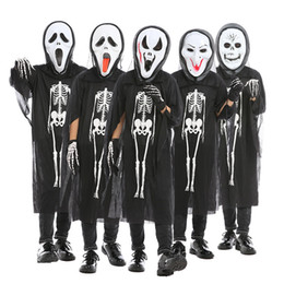 ghost clothing Canada - Halloween costume cosplay witch masquerade men and women clothes skull skeleton ghost clothes children horror clothing