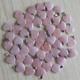 Rose Quartz Pendant Beads Australia - Charms Fashion natural Rose quartz stone Love heart shape pink stone beads Pendants 20mm for Jewelry making pendant Free shipping Wholesale