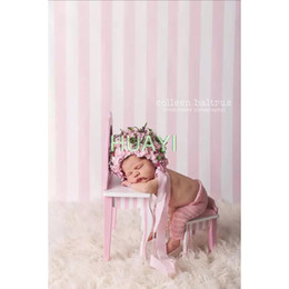 Chinese  5x7FT Lovely pink and white strips newborn Vinyl Photography Background Customized Backdrops for Photo Studios manufacturers
