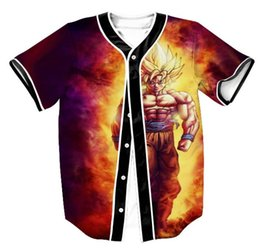 dragon ball t shirts NZ - Newest 3D Print Cartoon Dragon Ball Z Goku Baseball Jersey T Shirt Summer Fashion Short Sleeve Button Cardigan Tops Tee Clothing