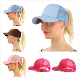 Candy baseball Caps online shopping - C Label Brand Hat Candy Colors Casquette Women Ponytail Hats Snapback Designer Hats Baseball Caps Dad Hat Luxury Fitted Hats
