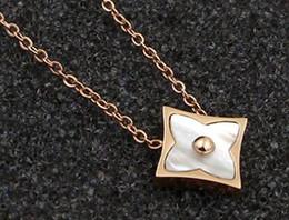 $enCountryForm.capitalKeyWord NZ - Korean version of the simple OL square color shell flower pendants fashion titanium steel rose gold necklace female models