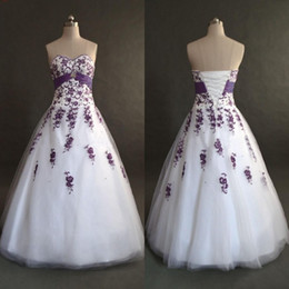 Corset China Custom made online shopping - Top Quality White and Purple Wedding Dresses from China Sweetheart Necline Exquisite Machine Embroidery A line Corset Bridal Gowns