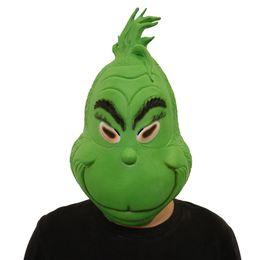 Latex Woman Costume Australia - Grinch Mask Men Women Green Latex Party Cosplay Mask Full Face Masks Further Helmet Headgear Halloween Christmas Decors Cosplay Toys