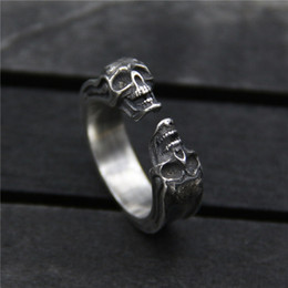 Sterling Silver Skull Women Canada - 925 sterling silver ring vintage skull opening ring Thai silver alternative unique rings for men and women adjustable hip hop jewelry china