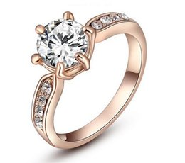 $enCountryForm.capitalKeyWord NZ - DHL 18k Rose Gold Plated Diamond Heart and Arrows Cut Cubic Zirconia Solitaire Crystal Wedding Engagement Rings