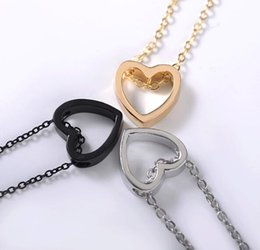 necklaces pendants Australia - 12pcs lot hollow heart shape love Couple stainless steel pendant necklace 3 color for choose gold silver black Valentine's Day jewelry gift