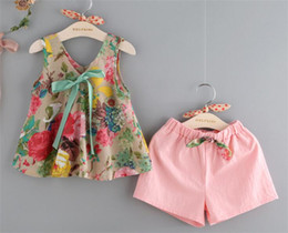 $enCountryForm.capitalKeyWord NZ - summer baby girls floral tank vest tops+shorts clothing set girl's outfits children suit Y225