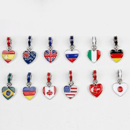 Wholesale American Japan Canada Flags DIY Beads Charms for Bracelet and Necklace Pendant Loose Enamel Beads Fashion Jewelry Drop Shipping