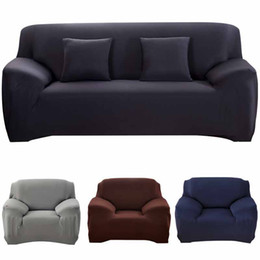 Wholesale 19 Colors Solid Color Sofa Slipcovers Elastic Sofa Cushion Covers Washable Couch Cover For Living Room 1 2 3 4 Seater