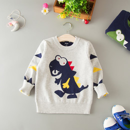 $enCountryForm.capitalKeyWord NZ - Kids Dinosaur Sweater Jackets For Boys Casual Tops Winter Warm Knitted Baby Outerwear Coat Pullover New Year Children Clothing