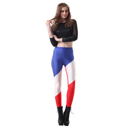 Wholesale french clothing sizes online – design Elastic Casual Pants D Digital Printing French flag Pattern Women Leggings sizes Fitness Clothing