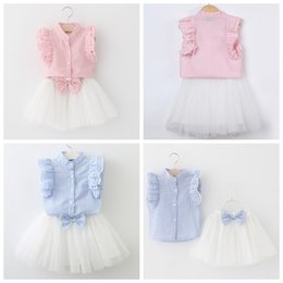 Wholesale shirt blue vertical for sale – plus size Baby girl boutique clothing suit Girls vertical striped puff sleeve shirt white tutu skirts with bow children outfits kids clothing set