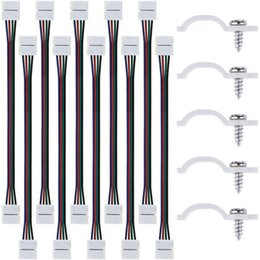 $enCountryForm.capitalKeyWord Australia - WIXURE 10PCS LED 5050 RGB Strip Light Connector 4 Conductor 10 mm Wide Strip to Strip Jumper with 100 Lots Light Mounting