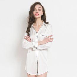 polyester satin sleepwear 2019 - 2017 New Silk Satin Women Long Sleep Tops  with Full Sleeve 479b7104a