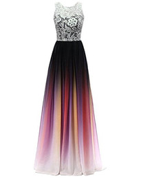 China 2018 New Cheap Lace Gradient Long A Line Chiffon Prom Evening Dresses Women Formal Gowns Floor-Length Lace Up Party Gown QC1110 supplier women buttons suppliers