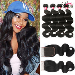 Discount malaysian hair 26 inches - Brazilian Body Wave Hair With 4*4 Closure Unprocessed Peruvian Indian Virgin Human Hair Weave Malaysian Body Wave 3 4 bu