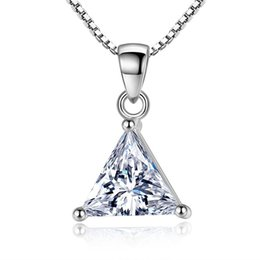 crystal triangle necklace UK - CZ Triangle Necklace Luxury Cubic Zirconia Necklaces Clear Crystal Neckless Women Simple Collier Femme White Gold Plated