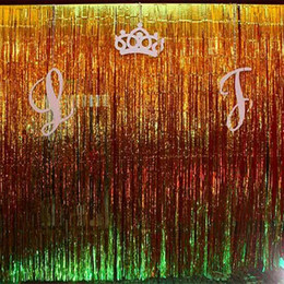 photography curtains backdrop NZ - FENGRISE Gold Foil Tinsel Curtain 1X3 Meters Foil Fringe Backdrop Wedding Photography Birthday Party Decoration Supplies