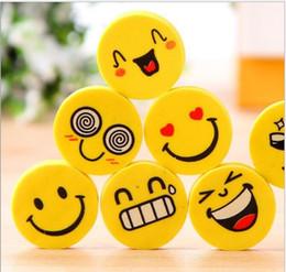 $enCountryForm.capitalKeyWord Australia - wholesale hot sale Emoji Eraser Emotion Kawaii Eraser Novelty Stationery School Supplies Wholesale Cartoon Rubber Erasers