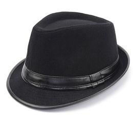 Blue felt hat online shopping - Fedora Jazz Hat flat caps England Style Fedora Hat Men Polyester Faux Leather Vintage Wool Felt Winter Hat Panama Cap