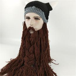 0af39f55493 2018 Funny Wig Beard Viking Handmade Knitted hats Winter Warm Crochet Caps  Men Women Halloween Christmas Gift Party Face Mask Beanies