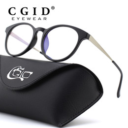 a1fb8c9d06e CGID TR90 Computer Glasses Anti Blue Light Radiation Optical Print Glasses  Round Black Eyewear Frame PC Glass Men   Women CT28
