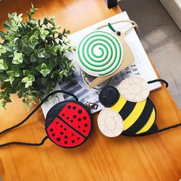 Wholesale 3 Style Girls INS bees ladybird snail PU Bags New Children fashion Single shoulder aslant coin purse Bags wallet B