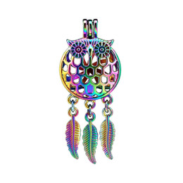 China 10pcs lot Rainbow Color Dream Catcher Owl Grid Dangle Leaf Beads Cage Locket Pendant Diffuser Aromatherapy Perfume Essential Oils Diffuser cheap plastic owls suppliers