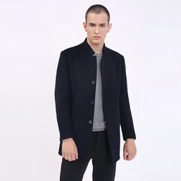 a1da4f34550eb 2018 Winter New Fashion Brand Coat Mens Winter Slim Fit Peacoat Warm Jacket  Wool Blends Overcoat Designer Casual Mens Clothes