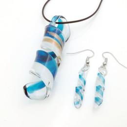 $enCountryForm.capitalKeyWord NZ - 3Sets Fashion Shapes Blue Murano Lampwork Glass Necklace Earrings Jewelry Set, Fashion Jewelry Set, Murano Jewelry
