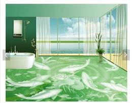 Textile Waterproofing Australia - Self-adhesive Waterproof Flooring Wall Sticker Customized 3D wallpaper floor painting wall paper Years with fish emerald marble 3D floor