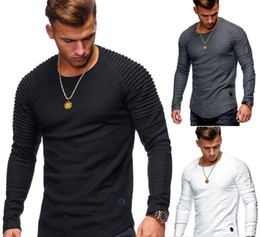 $enCountryForm.capitalKeyWord NZ - Summer Spring Slim Plain Round Neck T-shirt Men's Casual Long Sleeved Clothing Cotton Solid Pleated Top Tees