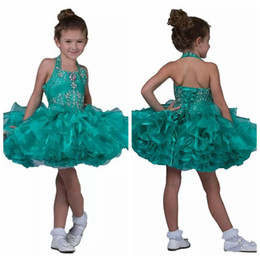 Mini Cupcake Black Australia - Halter Bling Bling 2019 Little Pageant Cupcake Dresses Toddler Straps Crystal Short Mini Dress Kids Gorgeous Ruffles Tutu Flower Girls Dress