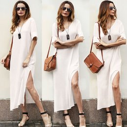 5f913e9aff93 Womens Summer Maxi Dress White Evening Party Dresses Hippie Boho Beach  Loose Long Dress Plus Size S-2XL DH126