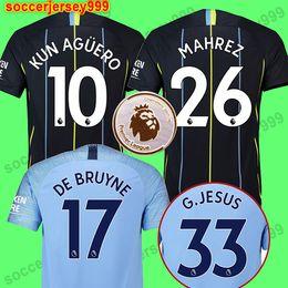 MAHREZ 18 19 soccer jersey 2018 2019 city JESUS DE BRUYNE KUN AGUERO football  shirt tshirt Camiseta MENDY WALKER SILVA maillot uniforms 3614f90c8