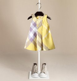 yellow leopard girl clothing 2018 - Children's clothes Round Neck Plaid Girls Dress New European American Style Summer Kid's Cotton Clothing Baby